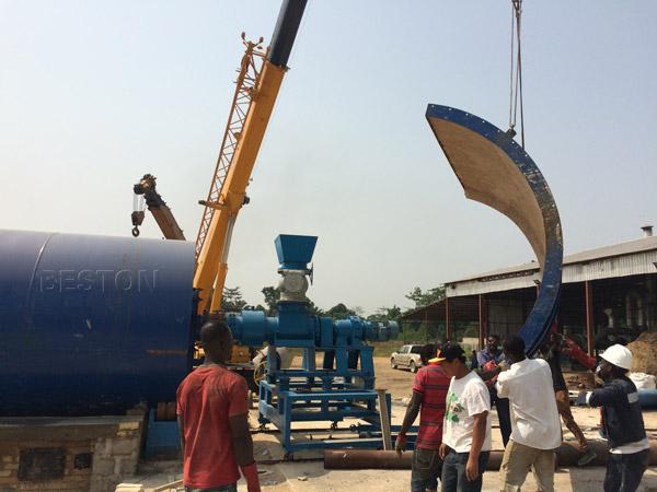 Beston waste sludge oil pyrolysis plant installing in Nigeria